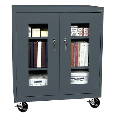 Sandusky® See Thru 46 x 24 x 48 Transport Mobile Clearview Counter Height Cabinet, Charcoal
