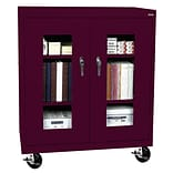 Sandusky® See Thru 46 x 24 x 48 Transport Mobile Clearview Counter Height Cabinet, Burgundy