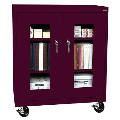 Sandusky® See Thru 36 x 24 x 48 Transport Mobile Clearview Counter Height Cabinet, Burgundy