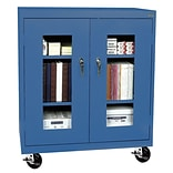 Sandusky® See Thru 36 x 18 x 48 Transport Mobile Clearview Counter Height Cabinet, Blue