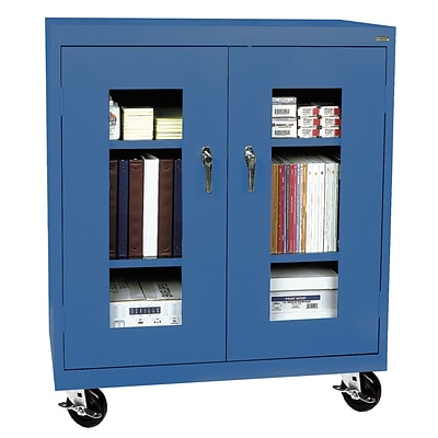 Sandusky® See Thru 46 x 18 x 48 Transport Mobile Clearview Counter Height Cabinet, Blue