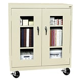 Sandusky® See Thru 46 x 24 x 48 Transport Mobile Clearview Counter Height Cabinet, Putty