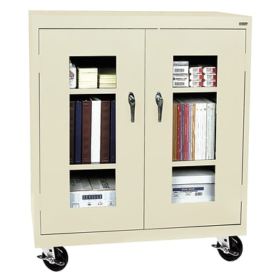 Sandusky® See Thru 36 x 18 x 48 Transport Mobile Clearview Counter Height Cabinet, Putty