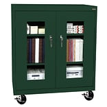 Sandusky® See Thru 46 x 24 x 48 Transport Mobile Clearview Counter Height Cabinet, Forest Green