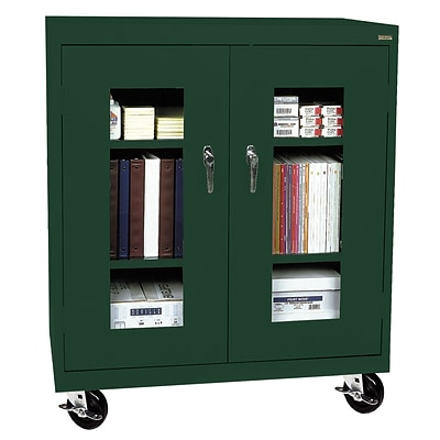 Sandusky® See Thru 36 x 24 x 48 Transport Mobile Clearview Counter Height Cabinet, Forest Green