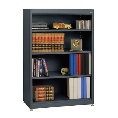 Sandusky® Elite 36 x 18 x 52 Steel Radius Edge Stationary Bookcase; Charcoal