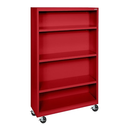 Sandusky® Elite 36 x 18 x 58 Welded Mobile Bookcase, Red