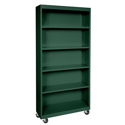 Sandusky® Elite 36 x 18 x 78 Welded Mobile Bookcase, Forest Green