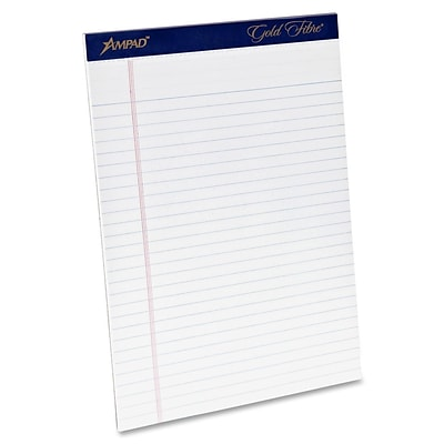 Ampad® Gold Fibre® Writing Pad 8-1/2x11-3/4, Wide Ruling, White, 50 Sheets/Pad