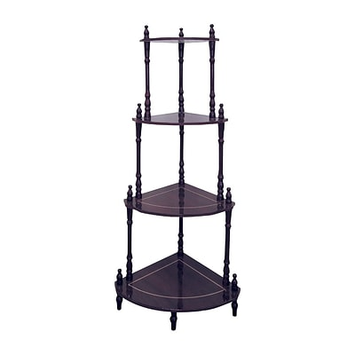 Ore International® 39 x 18 x 15 Composite Wood 4 Tier Corner Stand, Rich Cherry