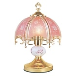 Ore International® 23 1/2 Floral Touch Table Lamp, Gold/Pink