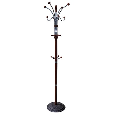 Ore International® Home Decorators Collection Chrome/Wooden Coat Rack, Cherry