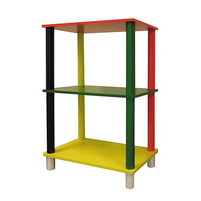 Ore International® Wood Kids 3 Tier Rectangle Corner Shelf, Multicolor