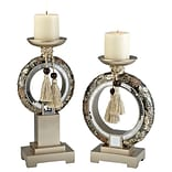 Ore International® Chrysanthemum 2 Piece Candle Holder Set, 17 1/2 x 7 x 1 1/2, Silver