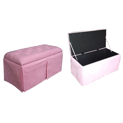 Ore International® Metal/Wood Microfiber Storage Bench With 2 Matching Ottomans, Pink