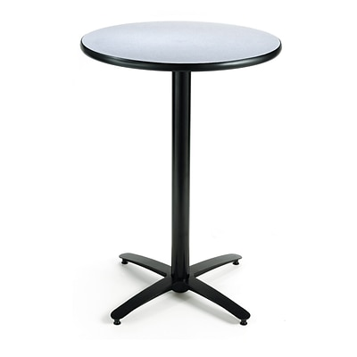 KFI® Seating 38 x 30 Round HPL Pedestal Table With Black Arched Base, Gray Nebula, 2/Pk