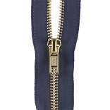 Heavyweight Brass Separating Metal Zipper, 24, Navy