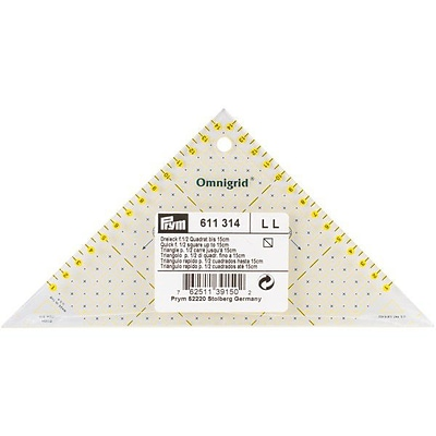 Omnigrid Metric Right Triangle Quilters Ruler, For 1/2 Square Up To 15cm