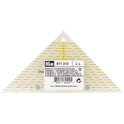 Omnigrid Metric Right Triangle Quilters Ruler, For 1/4 Square Up To 20cm