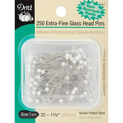 Dritz Extra, Fine Glass Head Pins, Size 22, 250/Pack