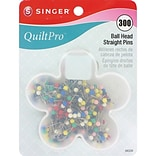Singer QuiltPro Ball Head Straight Pins In Flower Case 1-1/16; 300/Pack