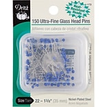 Dritz Ultra-Fine Glass Head Pins 1-3/8, 150/Pack