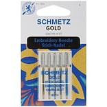 Euro-Notions Gold Embroidery Machine Needles, Size 14/90, 5/Pack
