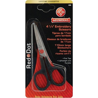Red Dot Embroidery Scissors; 4-1/4-4-1/4, Knife Edge