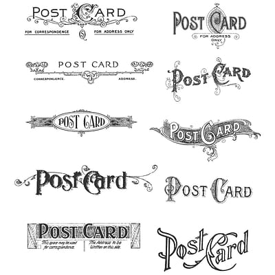 Stampers Anonymous Tim Holtz 7 x 8 1/2 Cling Stamp Set, Postcards
