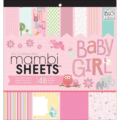 MAMBI(r) Baby Girl Animals Specialty Cardstock, 12""