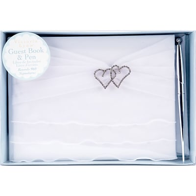 Darice® Victoria Lynn™ Wedding Guest Book and Pen, White