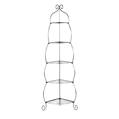 SEI 5-Tier Scrolled Metal Corner Etagere, Black