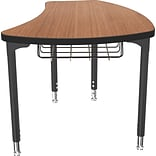 Balt Black Legs/Edgeband Small Shapes Desk With Black Book Basket, Amber Cherry