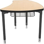 Balt Black Legs/Edgeband Small Shapes Desk With Black Book Basket, Fusion Maple