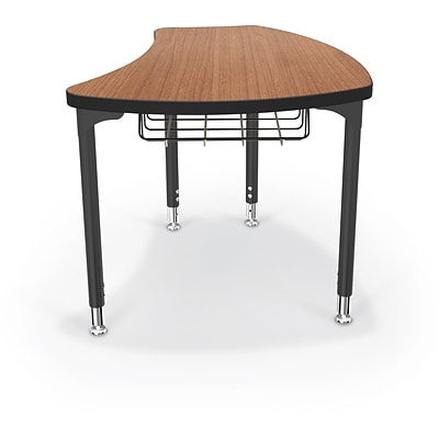 Balt Black Legs/Edgeband Large Shapes Desk With Black Book Basket, Amber Cherry