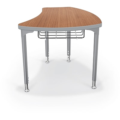 Balt Platinum Legs/Edgeband Large Shapes Desk With Platinum Book Basket, Amber Cherry
