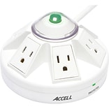 Accell® Powramid® White 6-Outlet 1080 Joule Power Center and Surge Protector With 4 Cord