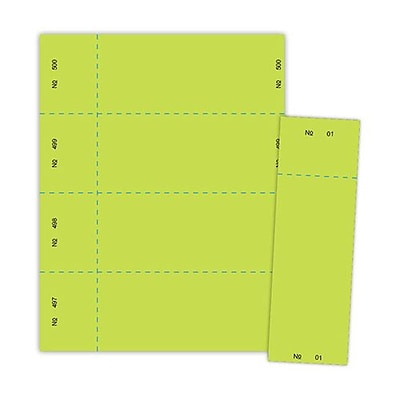Blanks/USA® 2 3/4 x 8 1/2 Numbered 01-500 Digital Raffle Ticket, Green, 500/Pack