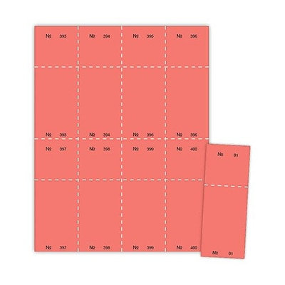 Blanks/USA® 2 1/8 x 5 1/2 Numbered 01-400 Digital Cover Raffle Ticket, Red, 400/Pack