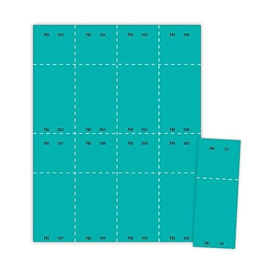 Blanks/USA® 2 1/8 x 5 1/2 Numbered 01-400 Digital Cover Raffle Ticket, Teal, 400/Pack