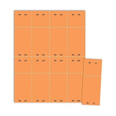 Blanks/USA® 2 1/8 x 5 1/2 Numbered 01-1000 Digital Cover Raffle Ticket, Orange, 1000/Pack