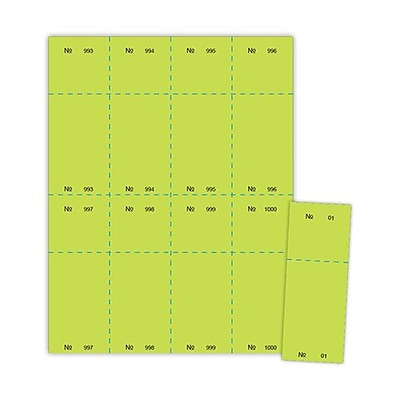 Blanks/USA® 2 1/8 x 5 1/2 Numbered 01-1000 Digital Cover Raffle Ticket, Green, 1000/Pack