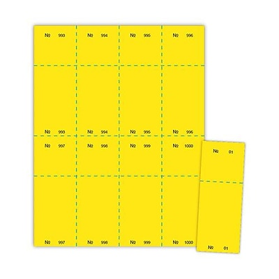 Blanks/USA® 2 1/8 x 5 1/2 Numbered 01-1000 Digital Cover Raffle Ticket, Yellow, 1000/Pack