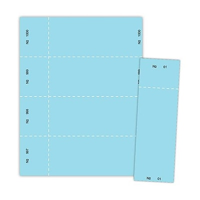 Blanks/USA® 2 3/4 x 8 1/2 Numbered 01-1000 Digital Index Raffle Ticket, Blue, 1000/Pack