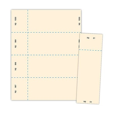 Blanks/USA® 2 3/4 x 8 1/2 Numbered 01-1000 Digital Index Raffle Ticket, Ivory, 1000/Pack