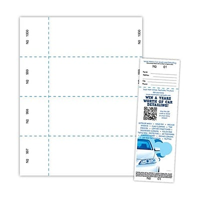 Blanks/USA® 2 3/4 x 8 1/2 Numbered 01-1000 Digital Index Raffle Ticket, White, 1000/Pack