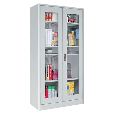 Sandusky® Elite 36 x 18 x 72 Radius Edge Clearview Storage Cabinet, Dove Gray
