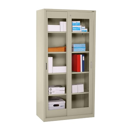 Sandusky® Elite 72 x 36 x 18 Sliding Door Clearview Storage Cabinet, Putty