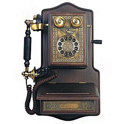 Paramount® AW1907 Wooden Wall Reproduction Phone;  Black/Brown