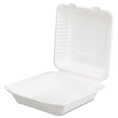 SCT ChampWare™ 3H x 9W x 9 D Molded-Fiber Clamshell Container, White, 200/Pack